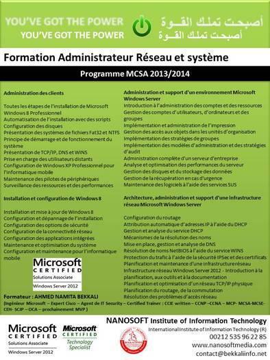 Formation Administrateur Systèmes et Réseaux MCSA